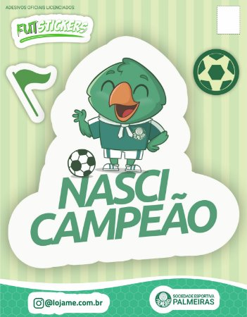 Cartela de 3 adesivos infantis - Palmeiras