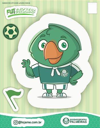 Cartela de 3 adesivos infantis do mascote Periquito do Palmeiras