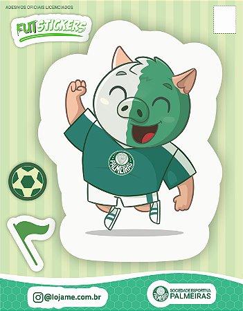 Cartela de 3 adesivos infantis do mascote Porco do Palmeiras