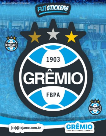 Cartela de 3 adesivos do escudo do Grêmio