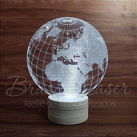 Abajur Luminária de Led sem Fio ( GLOBO TERRESTRE ) com Acrílico Grosso Iluminado 3D - Veja opções de Tamanho no Anúncio