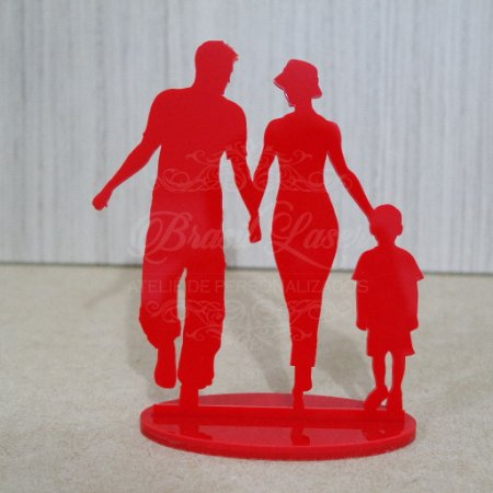 Topo De Bolo Família - Tamanho com 20cm (maior lado da peça) - Cor à Escolher