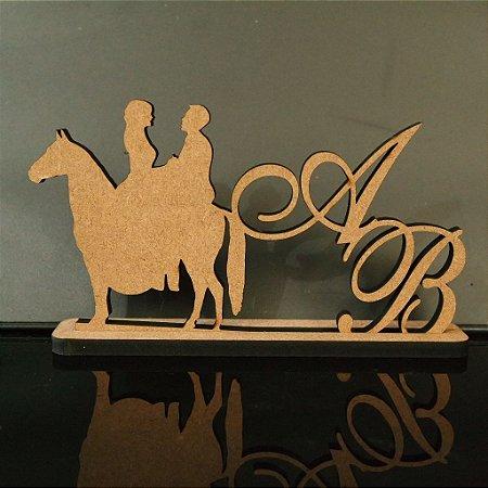 Topo De Bolo Casal no Cavalo com 14cm (maior lado da peça) - Cor à Escolher