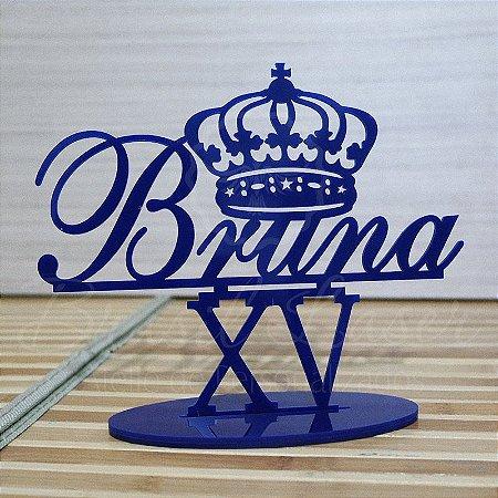 Topo De Bolo 15 anos XV Com Coroa - Tamanho com 20cm (maior lado da peça) - Cor à Escolher