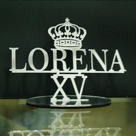 Topo De Bolo 15 anos XV Com Coroa - 14cm (maior lado da peça) - Cor à Escolher