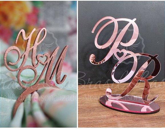 Kit com 100 Porta Guardanapos Pintados + 1 Topo de Bolo em Acrílico Espelhado Rosé 20cm