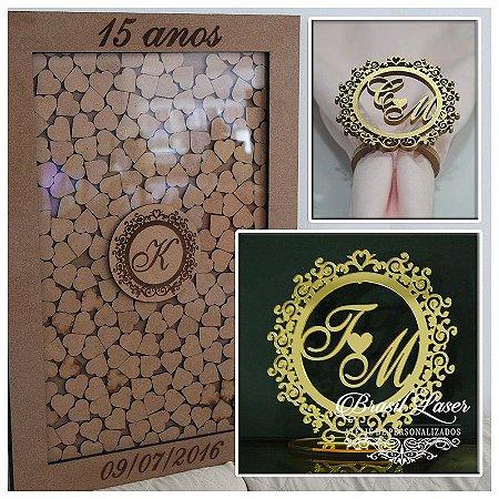 Kit Noivas ou 15 anos! 150 Porta Guardanapos Dourados + 1 topo De Bolo Espelhado Dourado + 1Quadro de Assinaturas
