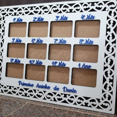 """Quadro Porta Retrato """"Primeiro Ano"""" 12 espaços para fotos 10x15 com Acríllico Azul ou Rosa"""