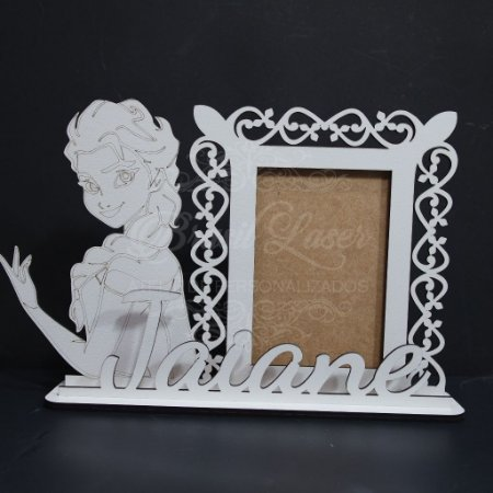 Porta Retrato da Princesa Elsa com Nome Personalizado em Mdf Branco