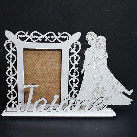 Porta Retrato da Princesa Elsa e Anna com Nome Personalizado em Mdf Branco