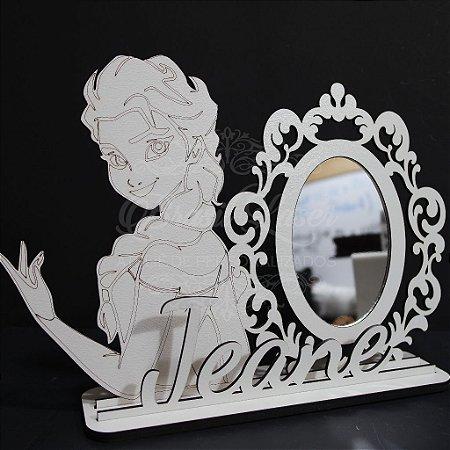 Espelho para Penteadeira da Princesa com Nome Personalizado em Mdf Branco