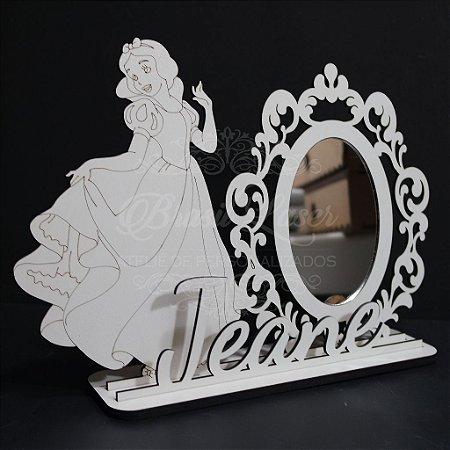 Espelho para Penteadeira da Branca de Neve com Nome Personalizado em Mdf Branco