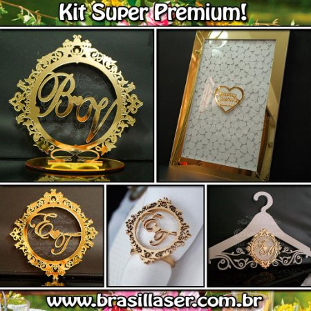 Kit Super Premium ! 200 Porta Guardanapos+1 Monograma pra Parede+ Topo de Bolo + Cabide + Quadro de Assinaturas Premium