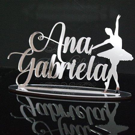 Topo De Bolo Personalizado Bailarina - Tamanho 14cm (maior lado da peça) - Cor à Escolher
