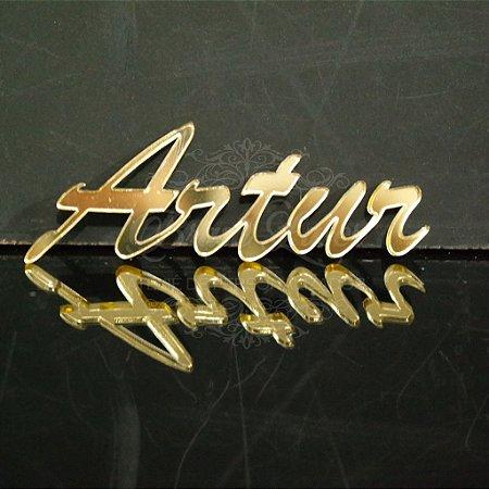 20 Nomes Para Convites ou Caixinhas Personalizadas em Acrílico Espelhado Dourado com o nome que o Cliente Desejar