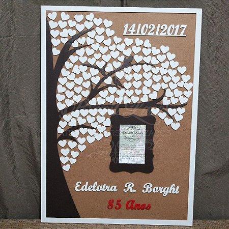 Árvore de Assinaturas com Porta Retrato Personalizado com Nome da Aniversariante, Casal ou Debutante e Data
