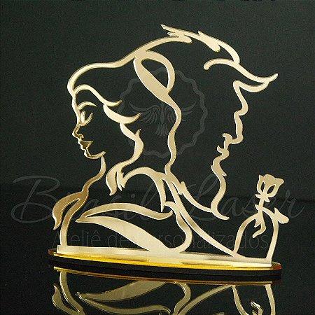Topo de Bolo A Bela e a Fera - Tamanho com 20 cm (maior lado da peça) - Cor à Escolher