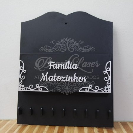 Porta Carta e Chaves Personalizado para parede - Opção de Pintado ou Cru