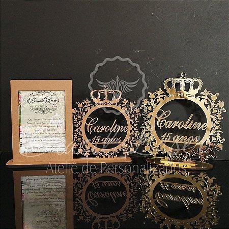 Kit Promocional! 1 Topo de Bolo Dourado 20 cm + 1 Porta Retrato com Brasão Mdf Cru.