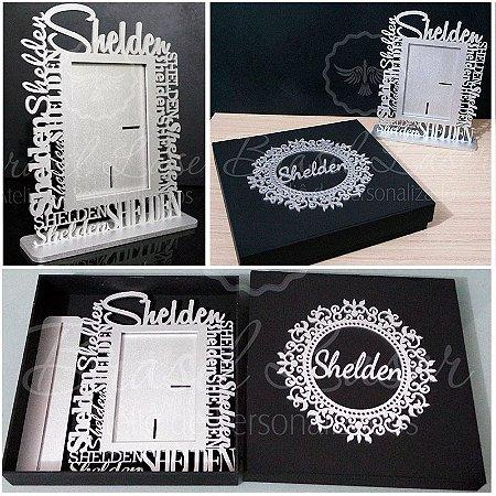 Kit Caixa de Presente! 1 Lindo Porta Retrato com Nome Personalizado + 1 Linda Caixa com Brasão e Nome