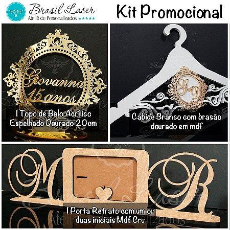 Kit Promocional! 1 Topo de Bolo Espelhado Dourado 20 cm + 1 Cabide + 1 Porta Retrato
