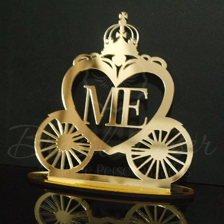 Topo de Bolo Carruagem Coração Personalizado - Tamanho com 20 cm (maior lado da peça) - Cor à Escolher