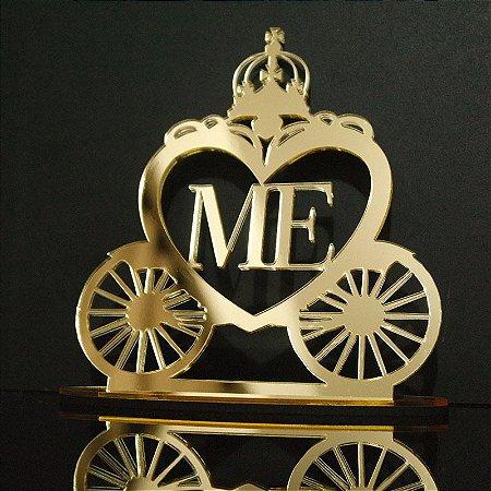 Topo de Bolo Carruagem Coração Personalizado  - Tamanho com 14 cm (maior lado da peça) - Cor à Escolher