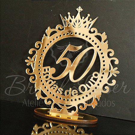 Topo De Bolo Bodas de Ouro - Tamanho com 20cm (maior lado da peça) - Cor à Escolher