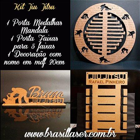 Kit Promocional Jiu Jitsu Mandala Porta Medalhas + Porta Faixas + Decoração com nome