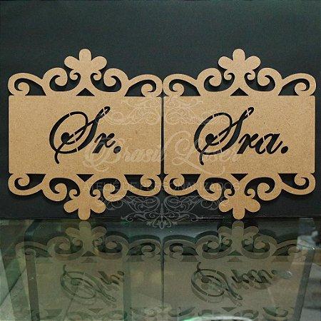 Par de Placas Para Cadeiras dos noivos - Sr e Sra - Opções de cor e preços dentro do anuncio.