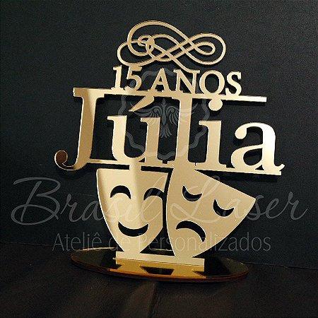 Topo De Bolo 15 anos com Máscaras - Tamanho com 14 cm (maior lado da peça) - Cor à Escolher