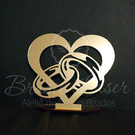 Topo de Bolo Coração com Alianças - Tamanho com 20 cm (maior lado da peça) - Cor à Escolher