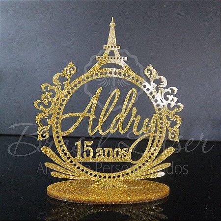 Topo de Bolo Paris Torre Eiffel com Brasão - Tamanho com 14 cm (maior lado da peça) - Cor à Escolher
