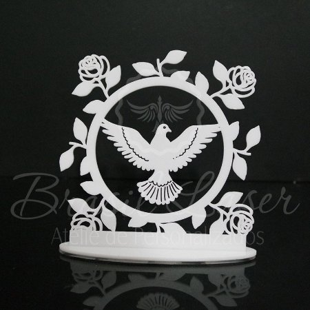 Topo de Bolo Pomba da Paz / Batizado/ Primeira Comunhão - Tamanho com 20 cm (maior lado da peça) - Cor à Escolher