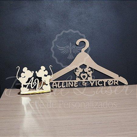 Kit Mickey e Minnie! 1 Topo de Bolo Dourado 14 cm + 1 Cabide em mdf cru