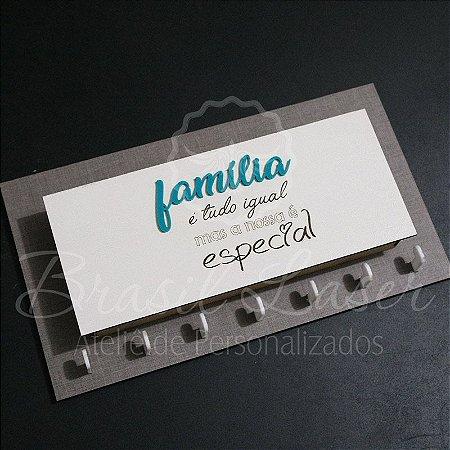 Porta Chaves com Porta Carta para Parede (Fundo Mdf Cinza com detalhe em Acrílico Azul Tiffany)