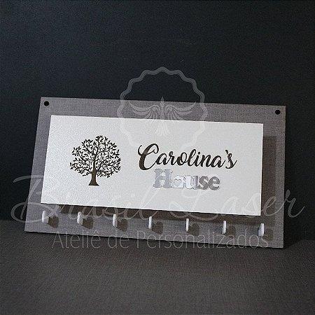Porta Chaves com Porta Carta para Parede Personalizado (Fundo Mdf Cinza com detalhe em Acrílico Espelhado Prata)