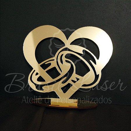 Topo De Bolo Coração com Alianças - Tamanho com 14 cm (maior lado da peça) - Cor à Escolher