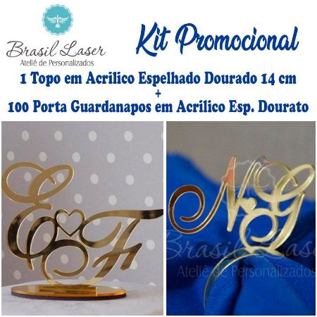 Kit Gold! 1 Topo de Bolo Acrilico Espelhado dourado 14 cm + 100 Porta Guardanapos em Acrílico Espelhado Dourado