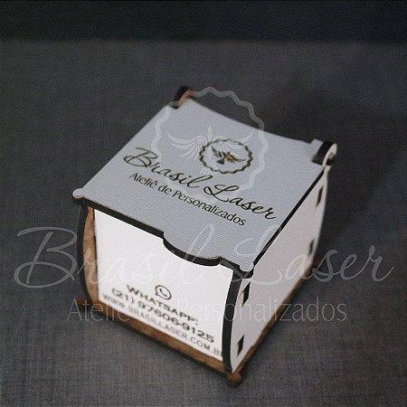 100 Caixinhas Em Mdf Branco Com Gravação na Tampa Personalizada 5,5 cm x 6 cm x 5 cm