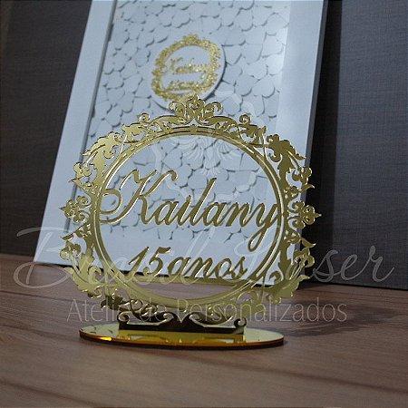 Kit Promocional! 1 Topo de Bolo Dourado 20 cm + 1 Quadro de Assinaturas Branco com Dourado