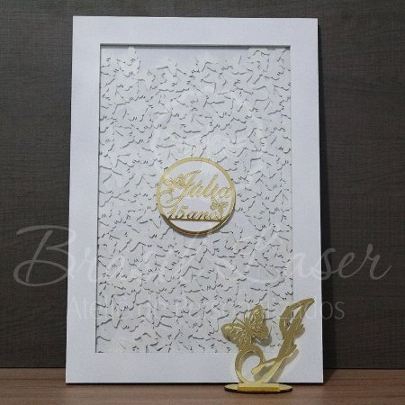 Kit Borboletas 1 ! 1 Topo de Bolo Dourado 14 cm + 1 Quadro de Assinaturas Branco com Dourado