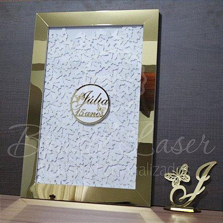 Kit Borboleta 2 ! 1 Topo de Bolo Dourado 14 cm + 1 Quadro de Assinaturas Branco com Moldura Dourada