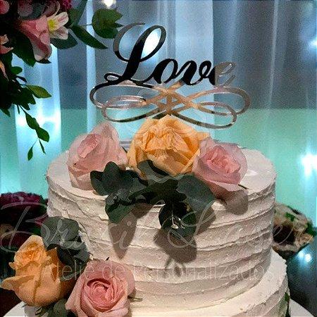 Topo De Bolo de Fincar Love - Cor à Escolher