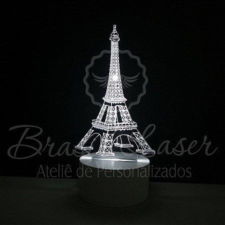 Abajur Luminária de Led sem Fio com Acrílico Grosso Iluminado - Torre Eiffel 3D - Veja opções de Tamanho no Anúncio