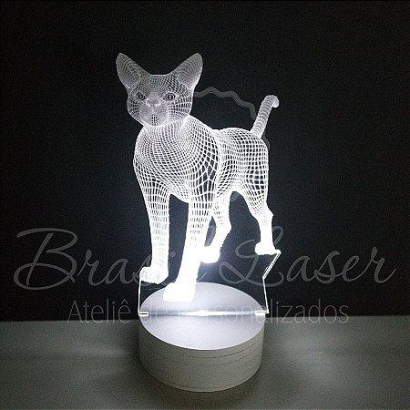 Abajur Luminária de Led sem Fio com Acrílico Grosso Iluminado - Gato 3D - Veja opções de Tamanho no Anúncio