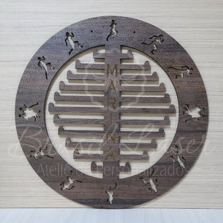 Porta Medalhas Cor Tabaco Corrida Estilo Mandala Personalizado