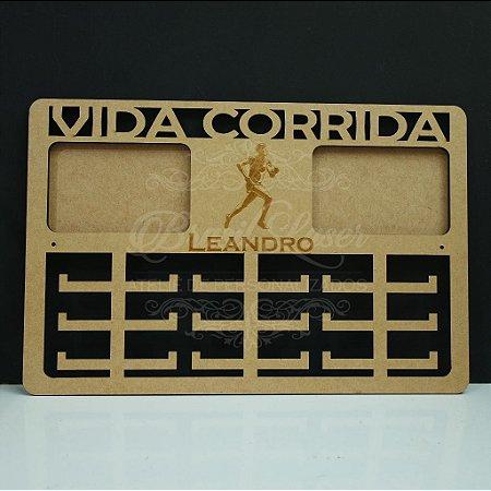Porta Medalhas ( CORRIDA ) Personalizado Com 2 Locais de Fotos Tamanho 45cmx29,5cm