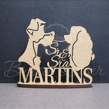 Topo De Bolo Cachorros Apaixonados - Tamanho com 14 cm (maior lado da peça) - Cor à Escolher