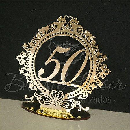Topo De Bolo 50 Anos/ Bodas de Ouro  - Tamanho com 20cm (maior lado da peça) - Cor à Escolher